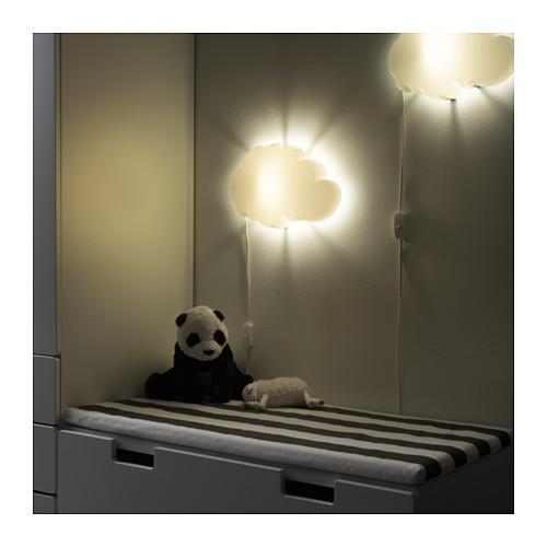 dr msyn ikea wandleuchte kinder lampe leuchte led a schlafen wei baby wolke ebay. Black Bedroom Furniture Sets. Home Design Ideas