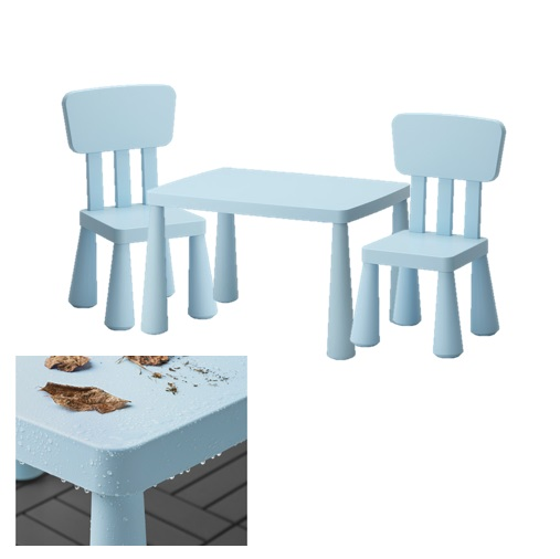 mammut ikea kinder tisch stuhl set hell blau drinnen. Black Bedroom Furniture Sets. Home Design Ideas
