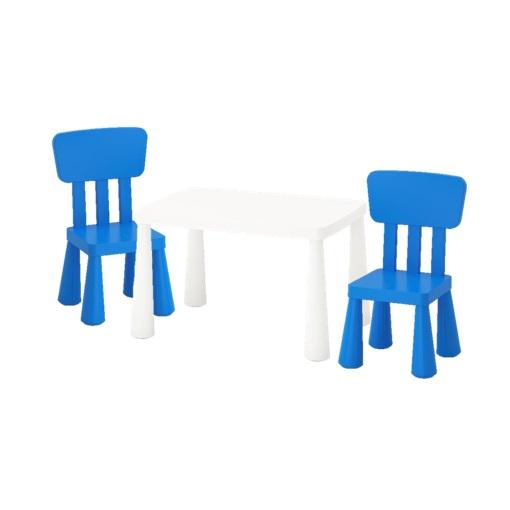 Mammut Ikea Kinder Tisch Stuhl Set Weiss Blau Drinnen Draussen