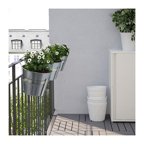 socker ikea blumentopf mit halter drinnen drau en 17cm verzinkt balkon neu ebay. Black Bedroom Furniture Sets. Home Design Ideas