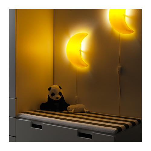 smila mane ikea wandleuchte mond gelb kind baby lampe wohnen nacht a led ebay. Black Bedroom Furniture Sets. Home Design Ideas